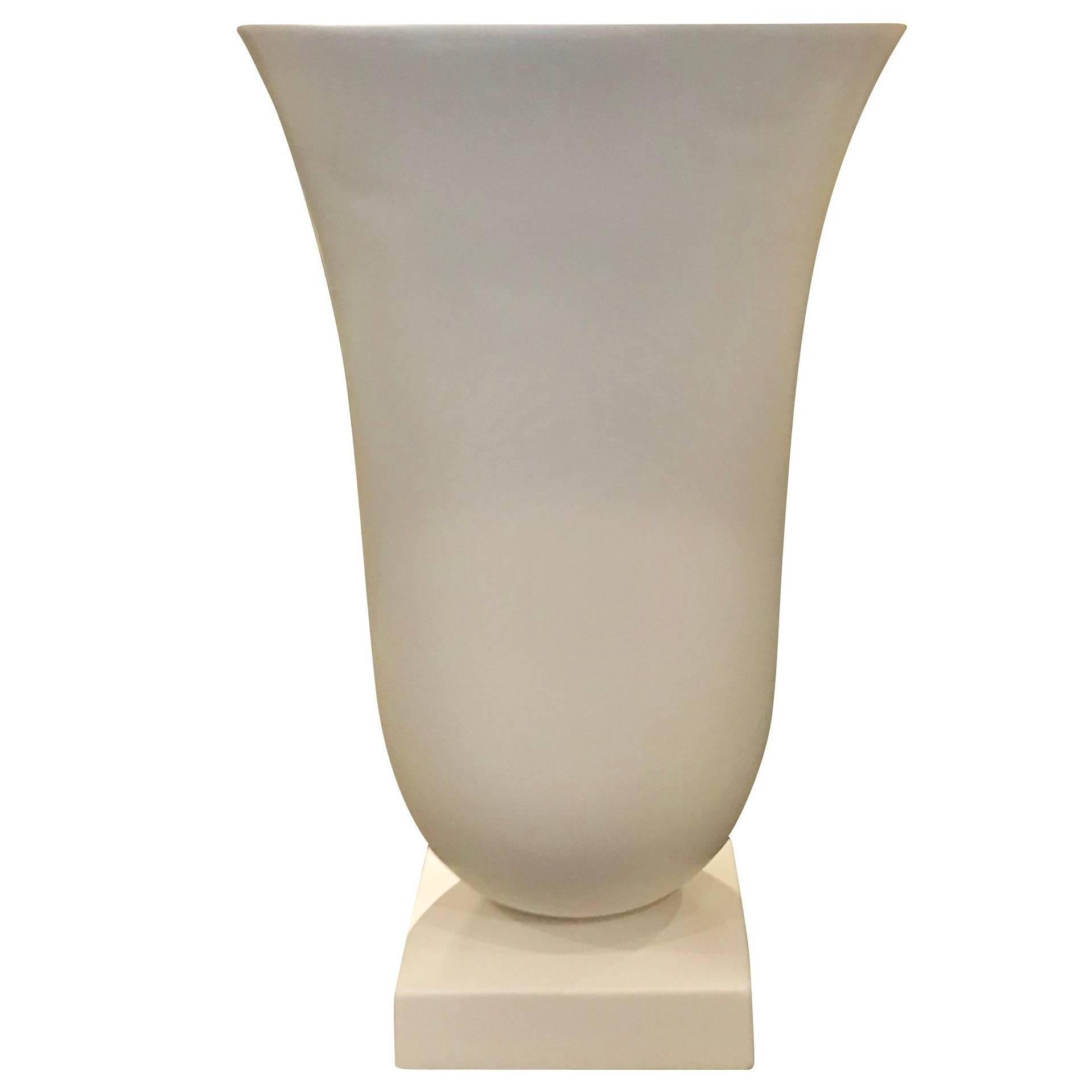 Decorative White Circled Handles Vase, France, Contemporary For Sale At