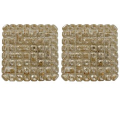 Pair of Rare Geometric Glass Ceiling or Wall Flush Mounts Sconces, 1960s