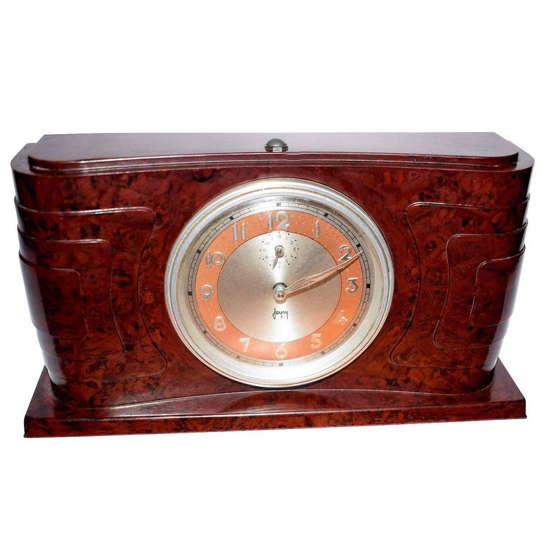 Art Deco Bakelite Streamline Clock by Japy France For Sale