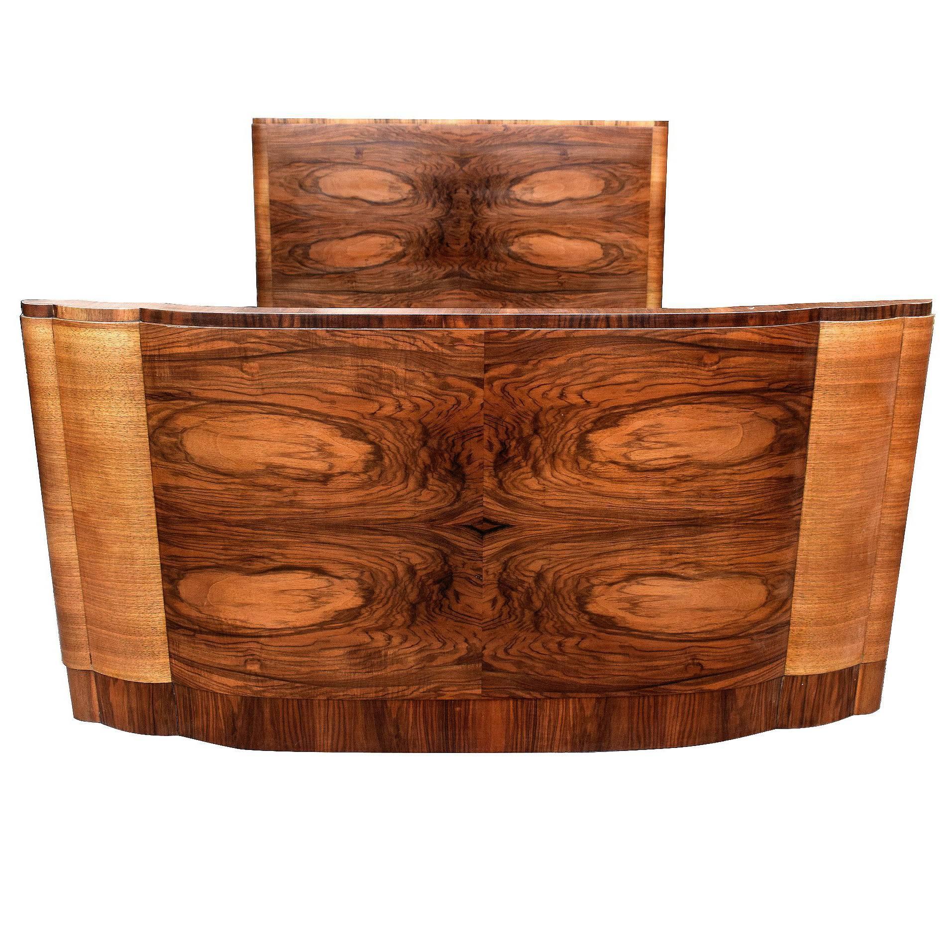 English 1930s Art Deco Walnut Double Bed