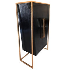 Modern Dapper Wardrobe or Armoire in Oak with Gold Plated Steel Frame