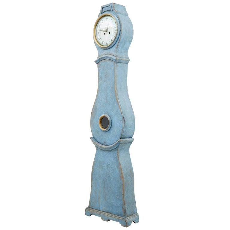 19th Century Swedish Painted Longcase Mora Clock