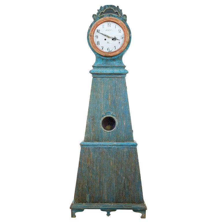 19th Century Decorative Mora Painted Swedish Longcase Clock