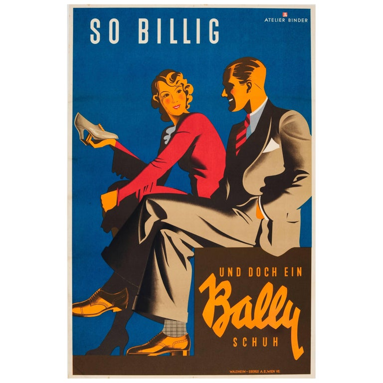 Original Vintage Art Deco Poster For Bally Shoes - So Cheap And Yet A Bally Shoe For Sale