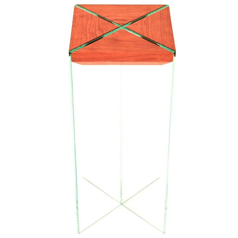Dream Table, Contemporary Cherry and Glass Side Table