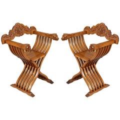 Late 19th Century Renaissance Savonarola Pair of Chairs in Carved Blond Walnut