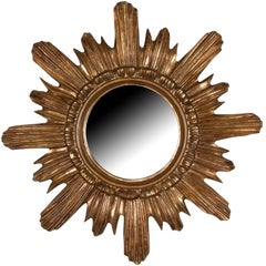 Sculpted Sunburst Gold Painted Wall Mirror, French, 1960s