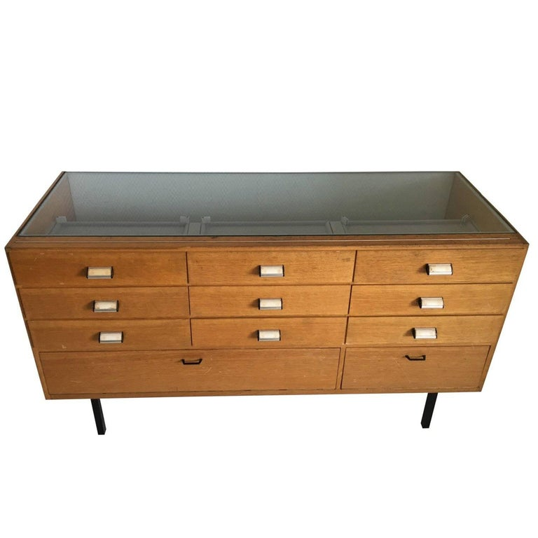 Midcentury Oak and Glass Shop Counter, Vitrine, 1950s