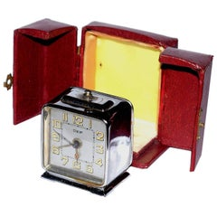 French Chrome Art Deco Alarm Clock by Dep