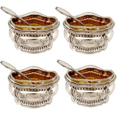 Compere French Sterling Silver 18 Karat Gold Four Salt Cellars, Spoons, Box