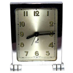 French Art Deco Chrome Modernist Clock