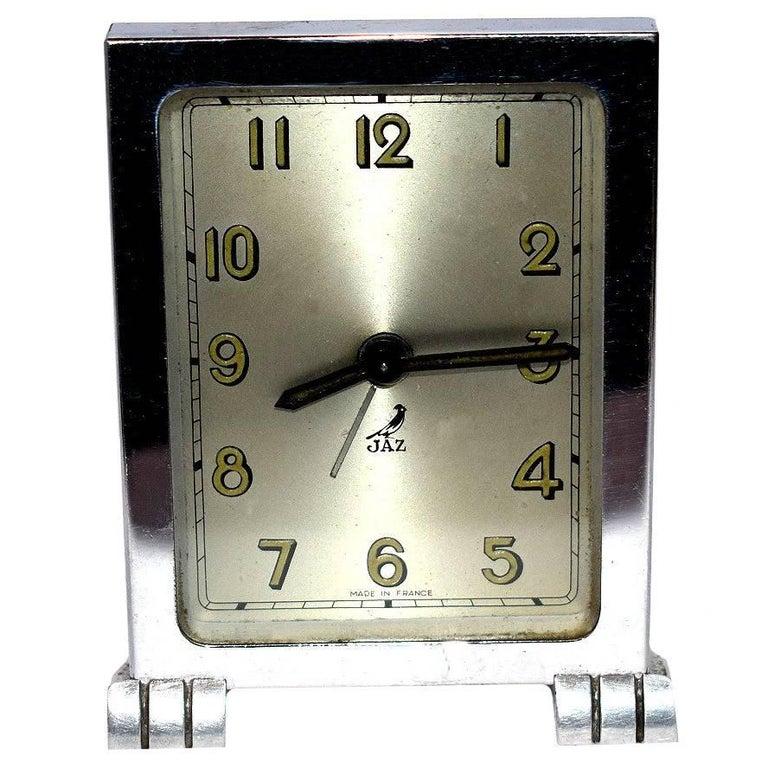 French Art Deco Chrome Modernist Clock