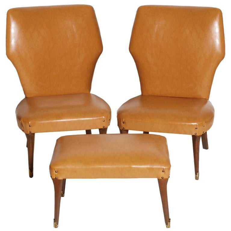 1940s Art Deco Bedroom Chairs, Stool, Leatherette, Guglielmo Ulrich Attributable