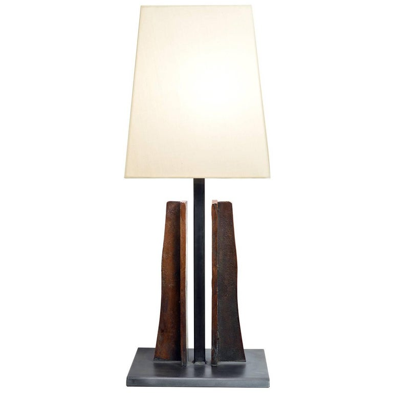 Ancre Table Lamp Contemporary Cast Bronze and Patinated Steel Pongee Silk Shade