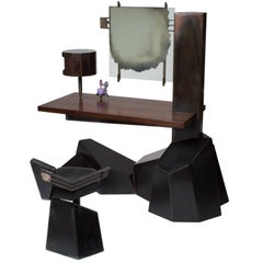 Datum Vanity, Leather Upholstered Chair, Mirror & Perfume Bottle Set of Five