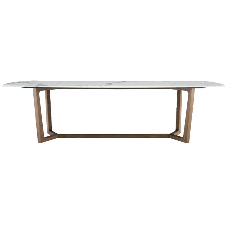Poliform concorde dining table four wood bases and six marble top options for sale at 1stdibs