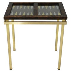 Burl Wood and Brass Backgammon Game Table
