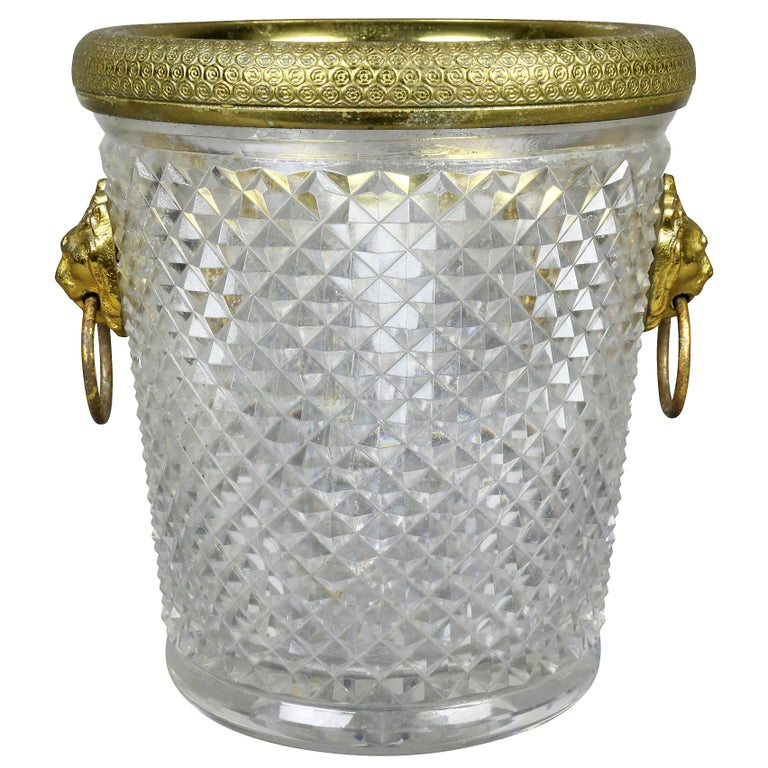 French Cut Crystal Bottle Holder or Ice Pail
