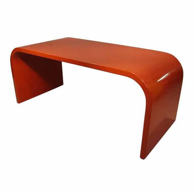 Rare Large Desk in Laminated Wood, Red Lacquered. French Work, circa 1960s-1970s For Sale