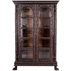 Antique Anglo-Indian or British Colonial Rosewood Glass Front Cabinet