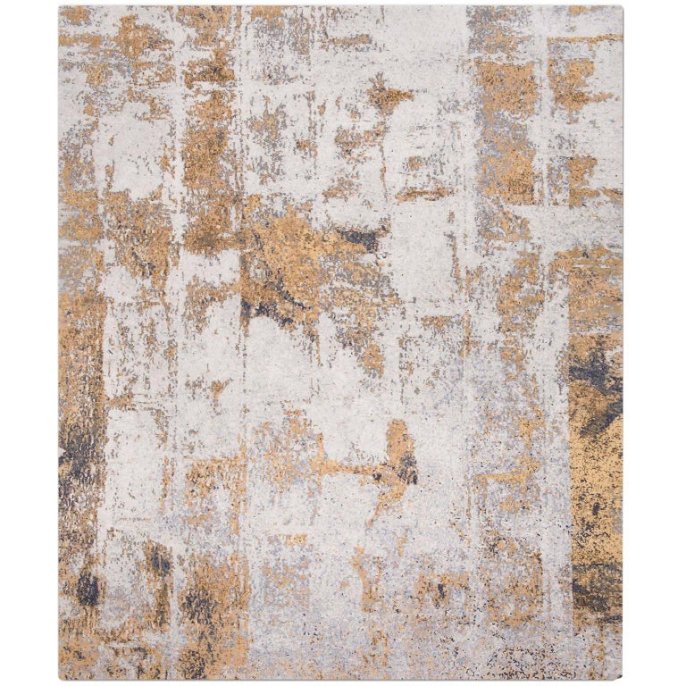 'Brick No. 05_Silver Rust' Hand-Knotted Tibetan Rug Made
