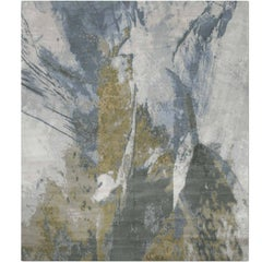 'Trilogy_United' Hand-Knotted Tibetan Contemporary Abstract Rug Wool & Silk