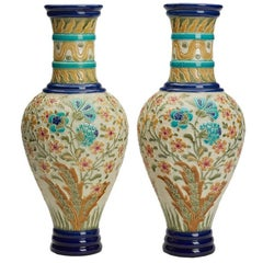 Pair of Large Stunning Burmantofts Faience Floral Vases