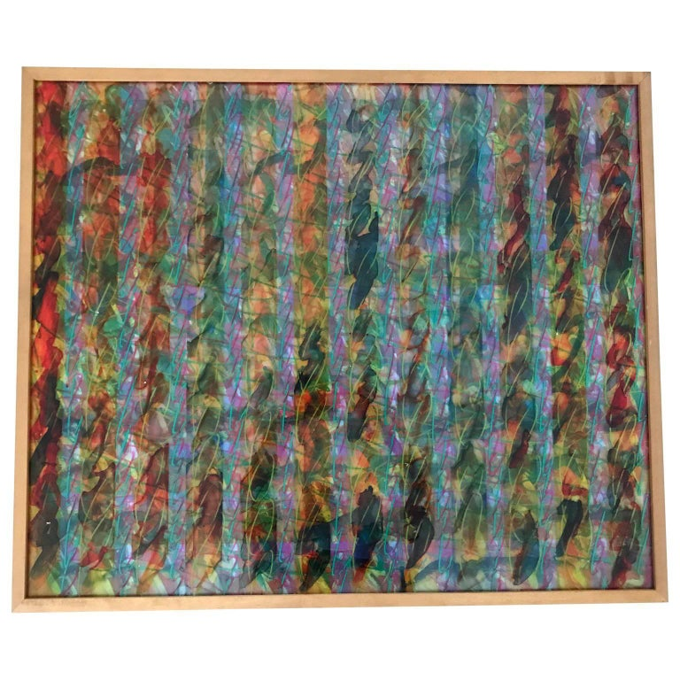Abstract Layered Glass Painting For Sale