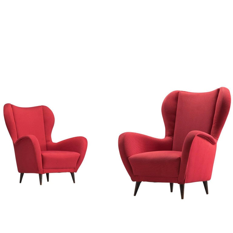 Italian Club Chairs in Red Upholstery, 1950s