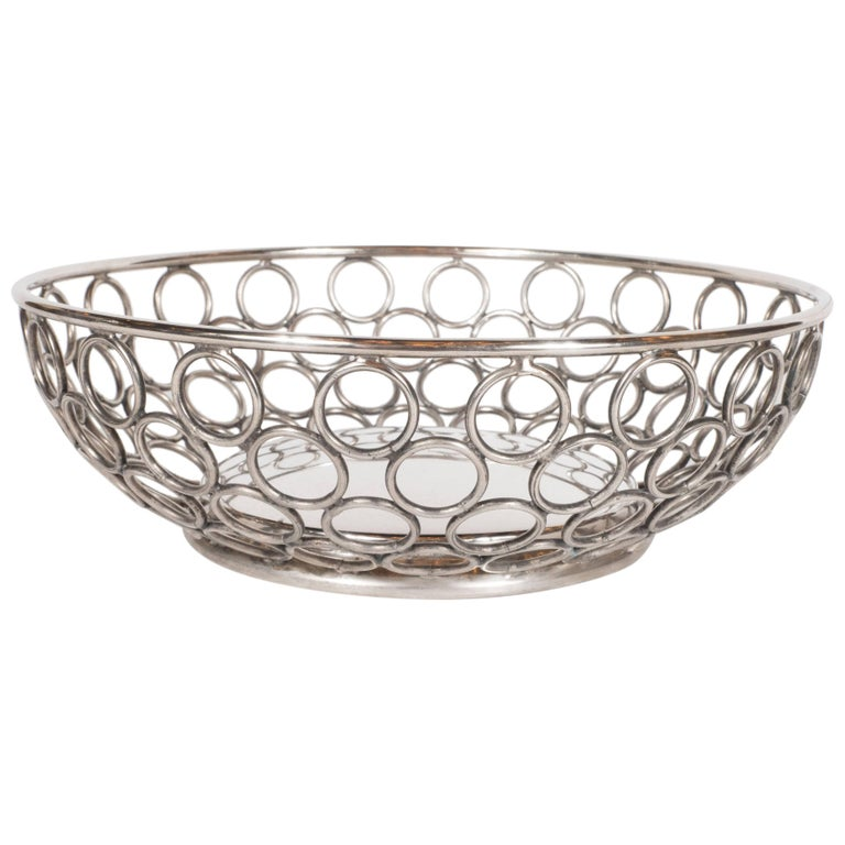 Mid-Century Modern Silver Plate Bowl/Basket with Repeating Circle Motif, Raimond