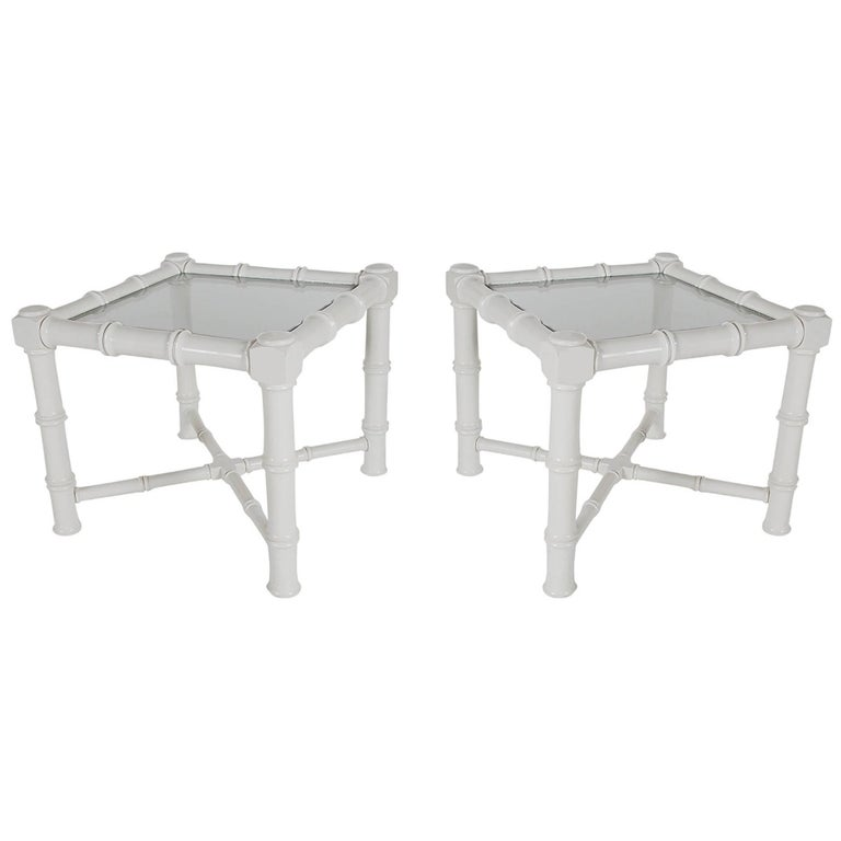 Hollywood Regency Chunky White Faux Bamboo Chinoiserie End Tables, Midcentury