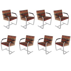 Set of Eight Mid-Century Modern Flat Bar Brno Armchair Dining Chairs for Knoll