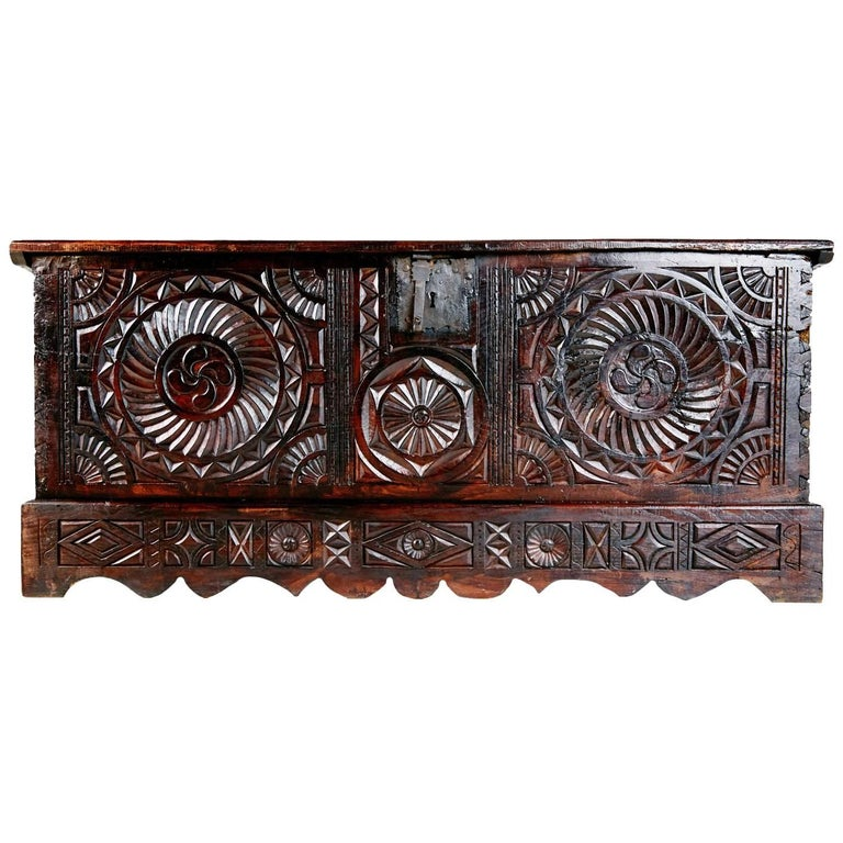 17th Century English Carved Oak and Elm Large Blanket Chest Coffer For Sale