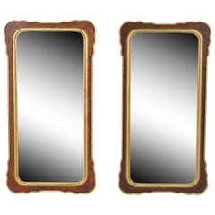 Pair of Mahogany Mirrors with Gilt Details