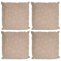 Set of Four Modern Beige Cotton Twill Pillows with Geometric Jacks Motif