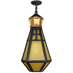 Six Sided Amber Glass Pendant Light