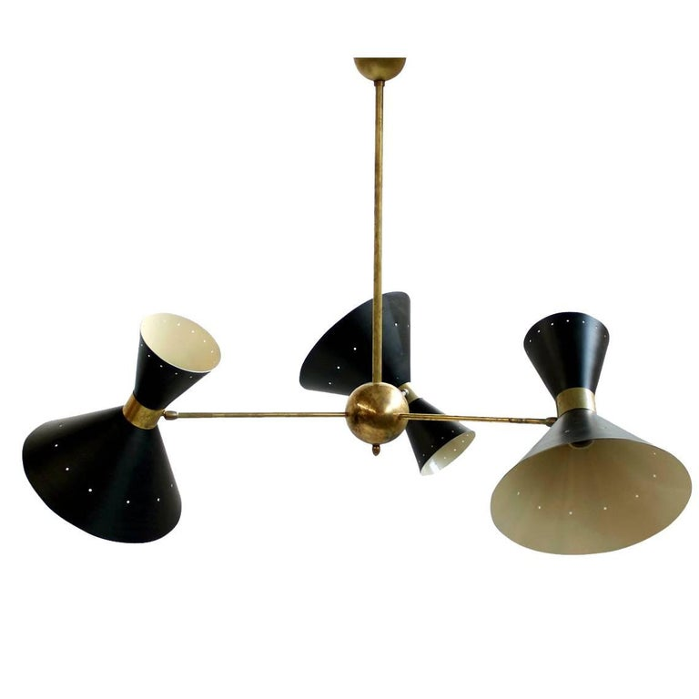 Beautiful Large Italian Adjustable Brass Modernist Chandelier in Stilnovo Style