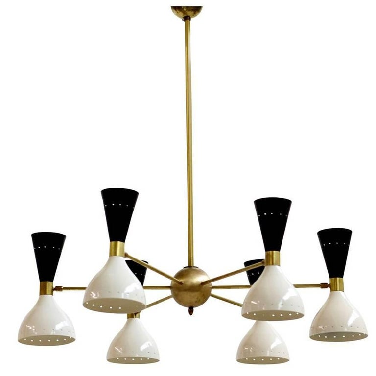 Large Adjustable Italian Modern Brass Six-Arm Chandelier Bi-Color Stilnovo Style
