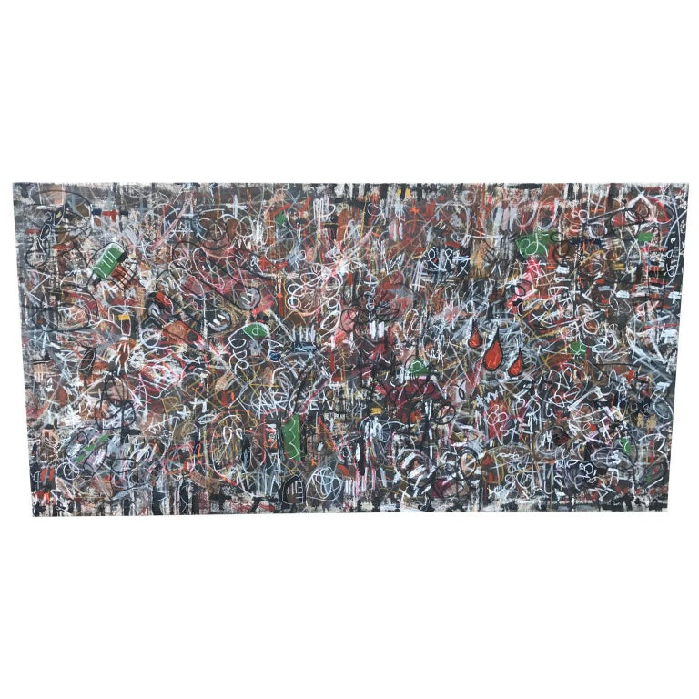 large horizontal modern gronk abstract multimedia painting for sale at 1stdibs