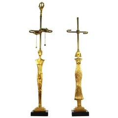 Excalibur Foundry, A Pair of Giacometti Caryatid Bronze Table Lamps, Ca. 1980s