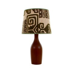 Teak Table Light, Large Lamp Stand, 1960s Attractive Table Lamp with Shade