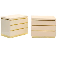 Pair of French Lacquered Limited Edition Three-Drawer Chests