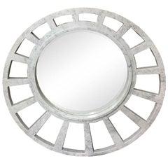 Italian Modern Round Sunburst White Carrara Marble Mirror by Massimo Mangiardi