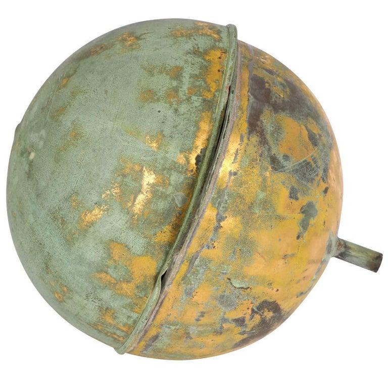 Gilt Copper Globe Form Architectural Finial For Sale