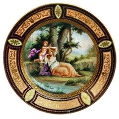 Stunning Royal Vienna Porcelain Plate Nymph Cherub Vintage Made circa 1890
