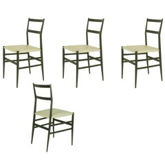 "Black Wood & Skai ""Superleggera"" Chairs, Gio Ponti for Cassina, 1957 Set of Four"
