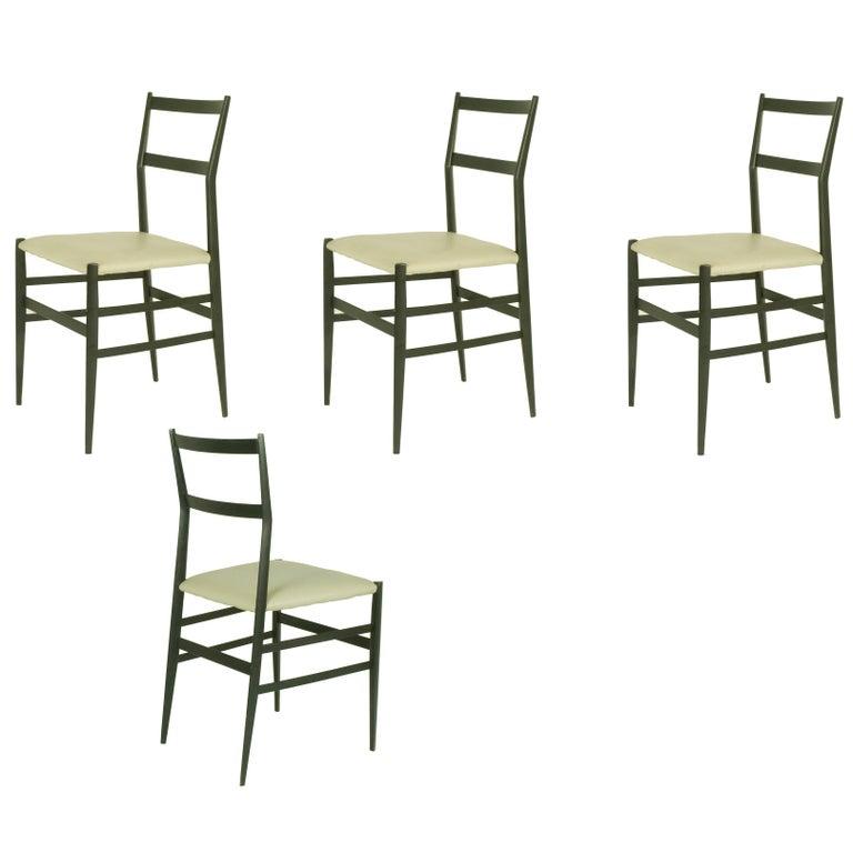 "Black Wood & Skai ""Superleggera"" Chairs, Gio Ponti for Cassina, 1957 Set of Four"