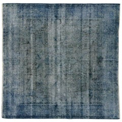 Distressed Overdyed Blue Persian Rug with Modern Industrial Style, Square Rug