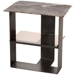 Domito End Table Contemporary Cast Bronze Leather Texture Steel with Glass Shelf