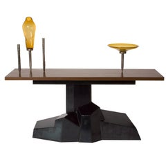 Datum Console Table in Wenge and Patinated Steel with Carved Brass Candle Sticks